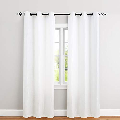 jinchan White Drapes for Living Room 95 Inches Length Waffle-Weave Window Curtains Privacy Curtain Panels for Bedroom One Pair
