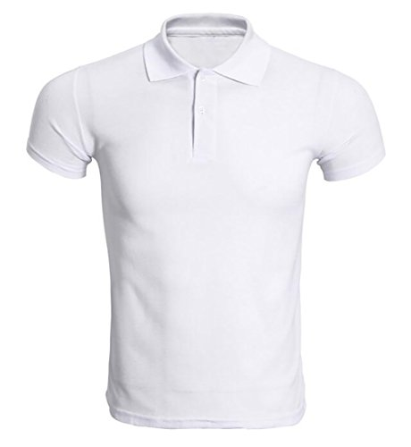 Bravepe Men Pure Color Loose Cotton Short-Sleeve Polo Shirt White S