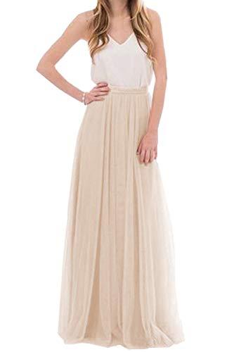 Omelas Womens Long Floor Length Tulle Skirt High Waisted Maxi Tutu Party Dress (Champagne, S) -