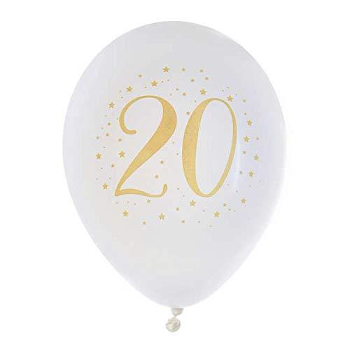 1001decotable - Globo de cumpleaños de 20 años, Color Blanco ...