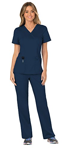 V-neck Mock Wrap Scrub Top - Cherokee Workwear Revolution Women's Medical Uniforms Scrubs Set Bundle - WW610 Mock Wrap Scrub Top & WW110 Pull On Scrub Pants & MS Badge Reel (Navy - Small/Small Tall)