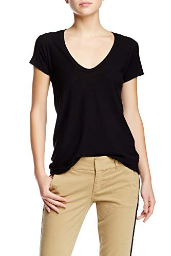James Perse HIGH Gauge DEEP V Cap Sleeve Jersey TEE Black, ()