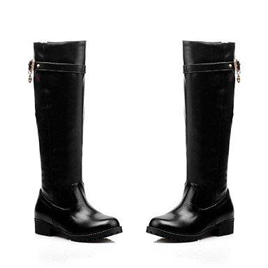 Vestimenta Negro Zapatos US5 Invierno Para Comodidad Marrón Botas CN34 De UK3 En Botas Altas Casual Rodilla Botas Redonda Puntera Polipiel Bajo RTRY EU35 Moda Mujer El Talón El RxqfdBBA