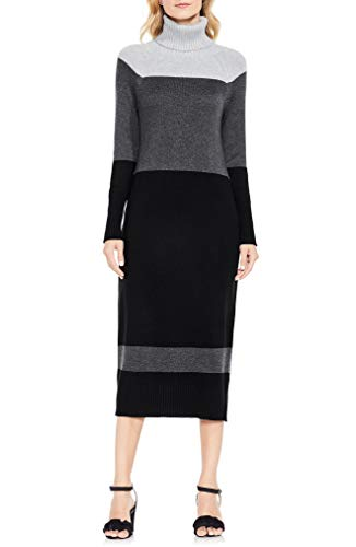 Vince Camuto Women's Colorblock Ribbed Turtleneck Sweater Dress (Grey Heather, X-Small)