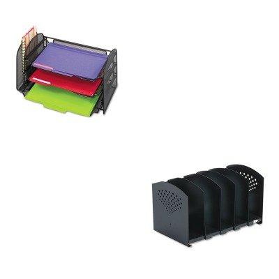 Five Section Adjustable Book Rack (KITSAF3116BLSAF3265BL - Value Kit - Safco Five-Section Adjustable Book Rack (SAF3116BL) and Safco Mesh Desk Organizer (SAF3265BL))