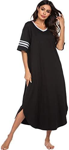 Ekouaer Long Nightgown, Womens V Neck Loungewear Oversized Sleepwear Loose Sleep Dress