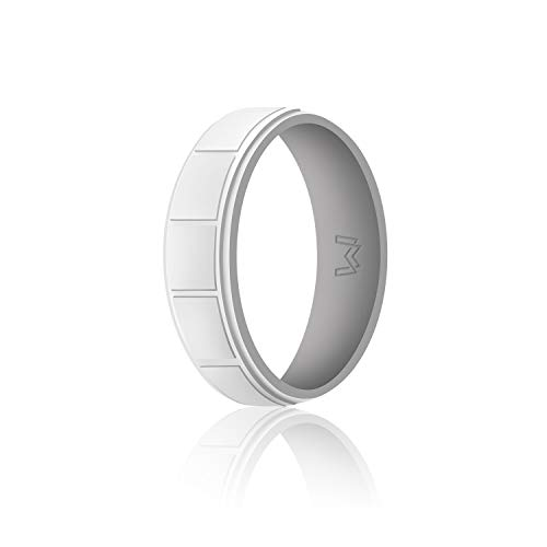 WIGERLON Mens Silicone Wedding Ring &Rubber Wedding Bands Width 8.7mm Color Light Grey Size 13