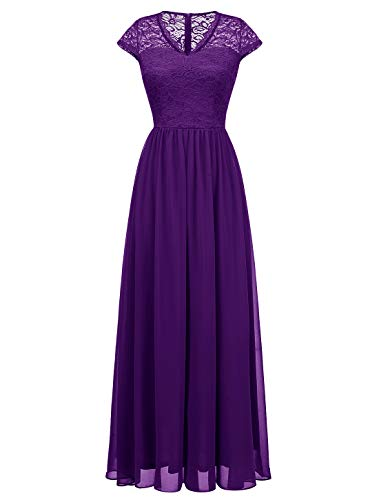 - Wedtrend Long Lace Chiffon Maxi Bridesmaid Dress V Neck Formal Party Gown DressWT0208PurpleXL