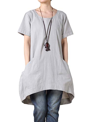 Mordenmiss Women's Cotton Linen Tunic Tops Hi-Low Dresses with Pockets XL-Gray