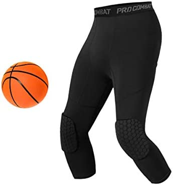 Amazon Com Unlimit Basketball Pants With Knee Pads Black Basketball Knee Pads Within Basketball Compression Pants 3 4 Capri Compression Tights Leggings For Youth Men And Women S Sports Outdoors