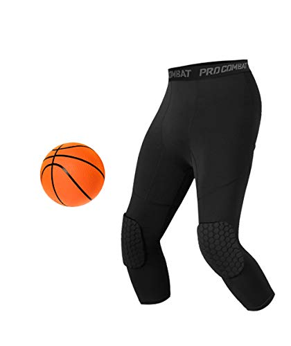 Unlimit Basketball Pants with Knee Pads, Black Basketball Knee Pads Within Basketball Compression Pants, 3/4 Capri Compression Tights Leggings for Youth, Men and Women (XL)
