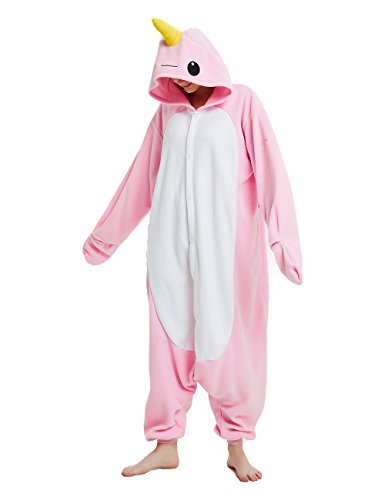 cosMonsters Adult Narwhal Animal Onesie Pajamas for Girls and Boys Christmas Cosplay Costume(Pink,X-Large)