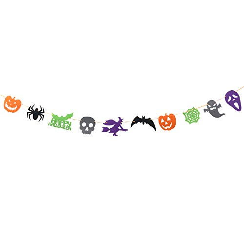 BESTOYARD Happy Halloween Bunting Banner Witch Pumpkin Bat Skull Ghost Halloween Party Decoration Banners for Home Haunt House Ornaments (Purple & Green & Black & Orange & Grey) ()