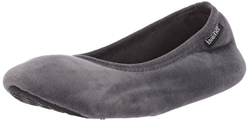 isotoner Women's Stretch Velour Victoria Ballerina House Slipper with all Around Memory Foam Comfort, Mineral, Small/5-6 M US (Best Ballet Flats For Travel)