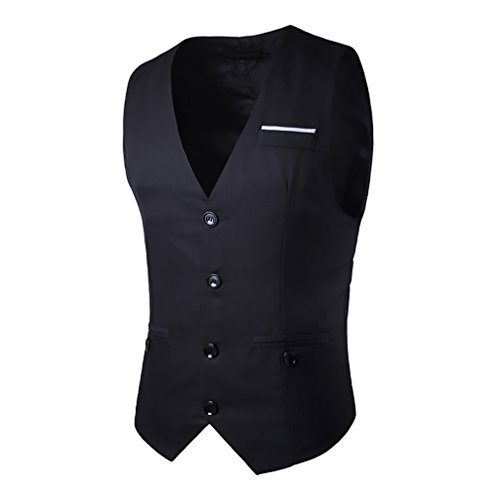 Smanicato Unique Breasted Chic Elegante Ufficio Corpetto Slim Scollo V Nero Tailleur Cerimonia Business Blazer Gilet Da Uomo Single Fit Matrimonio gvwAqxTzn