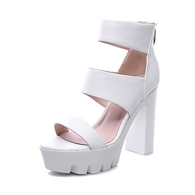 LvYuan Mujer-Tacón Robusto-Zapatos del club-Sandalias-Oficina y Trabajo Vestido Fiesta y Noche-Cuero-Negro Blanco White