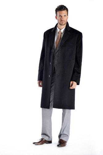 Men's Knee Length Overcoat in Pure Cashmere (Black, 50)