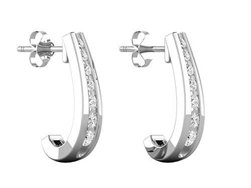(14K White Gold IGI Certified Near 3/4 Carat (H-I Color, SI2-I1 Clarity) Natural Diamond Graduated J-Hoop Earrings for Women)