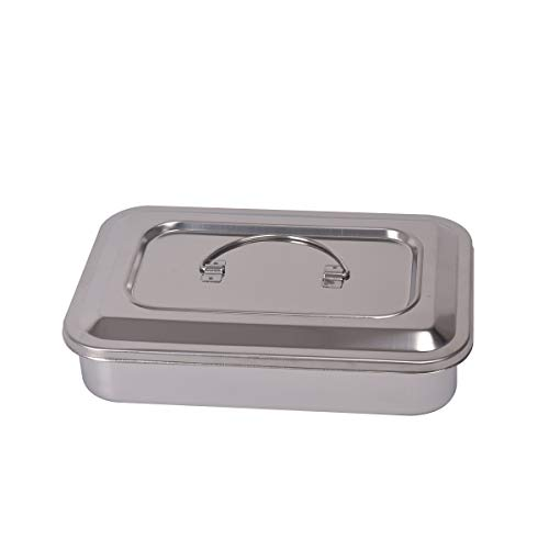 Stainless Steel Trays Surgical Medical Dental Instruments Tray Organizer Holder Sterilization Plate Trays boxs with Lid & Handle Grip 2 Sizes