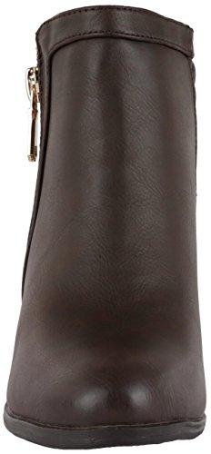 moderne Damen Stiefeletten Stiefel mit Reißverschluss u. Trichterabsatz braun