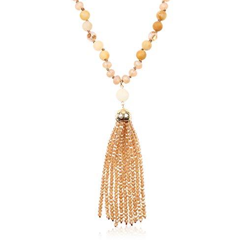 RIAH FASHION Bohemian Pendant Beaded Long Statement Necklace - Sparkly Crystal Bead Boho Teardrop, Natural Stone, Tassel Charm Wrap Lariat (Beaded Tassel - Taupe)
