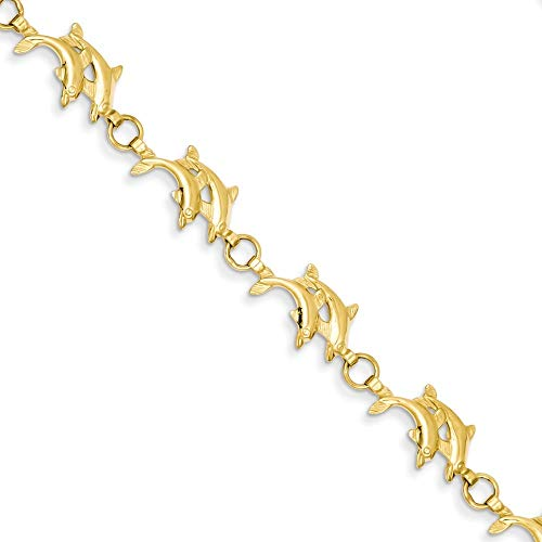 14K Yellow Gold Double Dolphin Bracelet ~ Length 7'' inches ~ from Roy Rose Jewelry (7' Bracelet Yellow Dolphin Gold)