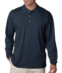 UltraClub Men's Egyptian Interlock Long Sleeve Polo Shirt - Navy - XXX-Large (Ladies Egyptian Interlock Polo)