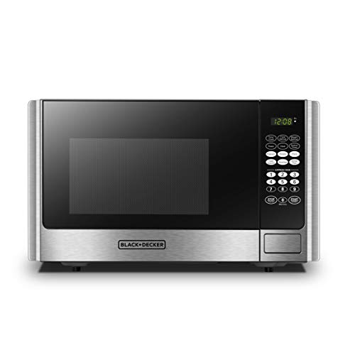 - BLACK+DECKER EM925AB9 Digital Microwave Oven with Turntable Push-Button Door,Child Safety Lock,900W,0.9 cu.ft,Stainless Steel,
