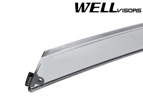 WellVisors Replacement for 2016-Present Mazda CX-3 Clip-ON Smoke Tinted Chrome Trim Side Rain Guard Window Visors Deflectors 3-847MZ016
