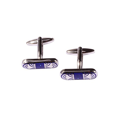 Digabi Jewelry Mens Cufflinks Rounded Rectangle Shaped Blue Platinum Plated Gift Boxed