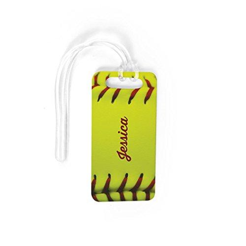 (Softball Luggage & Bag Tag | Personalized Name Softball Stitches | No Personalization on Back | SMALL)