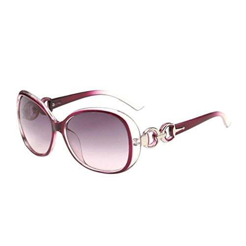 Limsea Hot Sale! Women Men Double Ring Decoration Shades Sunglasses Integrated UV Glasses
