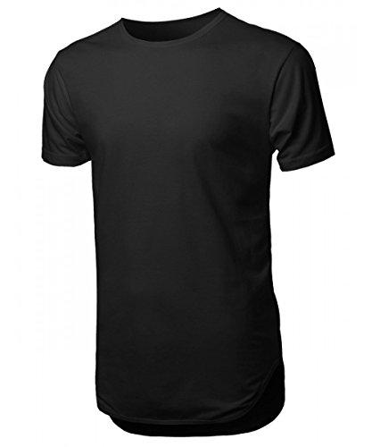 -Shirts Plain Hip-Hop Soft Cotton Casual Trim (Medium, HBHP02-Black) (Cotton Extra Long T-shirt)