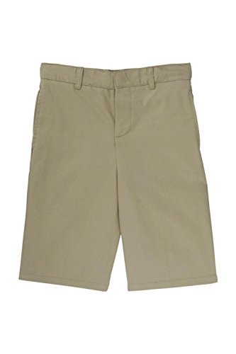 Khaki Waist Adjustable (French Toast Little Boys' Basic Flat Front Short with Adjustable Waist, Khaki, 5)