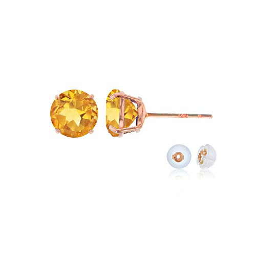 Genuine 14K Solid Rose Gold 6mm Round Natural Citrine November Birthstone Stud Earrings