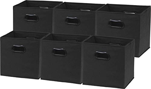6 Pack - SimpleHouseware Foldable Cube Storage Bin with Handle, Black (12-Inch Cube) ()