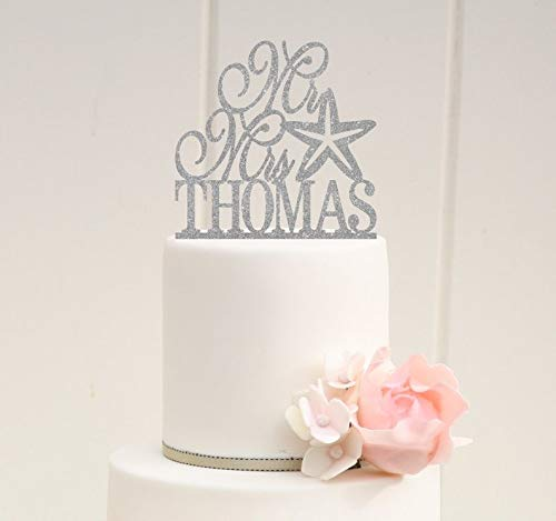Wedding Cake Topper Starfish Wedding Cake Topper Glitter
