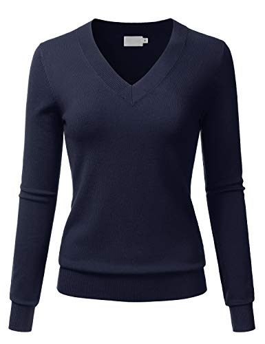 LALABEE Women's V-Neck Long Sleeve Soft Basic Pullover Knit Sweater Navy L