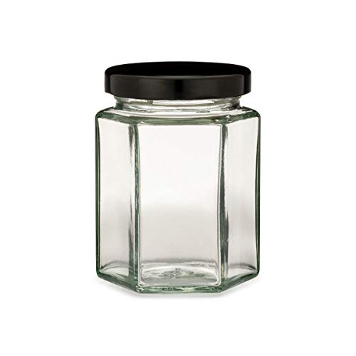 Fab-Life set of 2,6 Ounce Hexagon Glass Jars, 6 Oz Hex Jar Bulk for Party Favors, Preserves, Spices & Kitchen Storage
