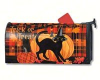 Mailwraps Cat - MailWraps Witch Hat Cat Mailbox Cover #01227
