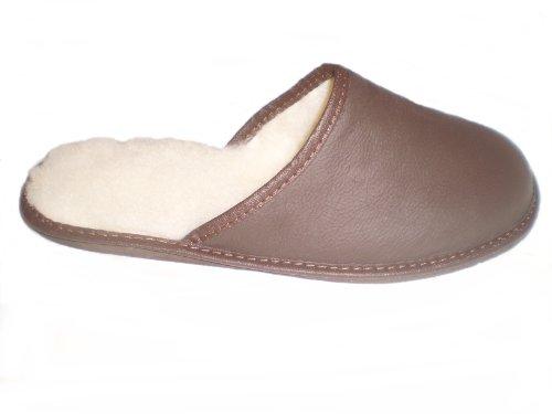 Marited Damen / Herren Natürlich Leder 100% Wolle Braun Pantoffeln Hausschuhe
