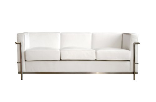 Amazon.com: Baxton Studio Le Corbusier Petite Sofa, White: Kitchen U0026 Dining