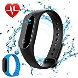 Vegkey Fitness Tracker,Activity Tracker,IP67 Waterproof Wireless Bluetooth Smart Bracelet with Heart Rate Monitor/Steps Counter/Sleep Monitor/Connected GPS Smart Watch for Android&iOS