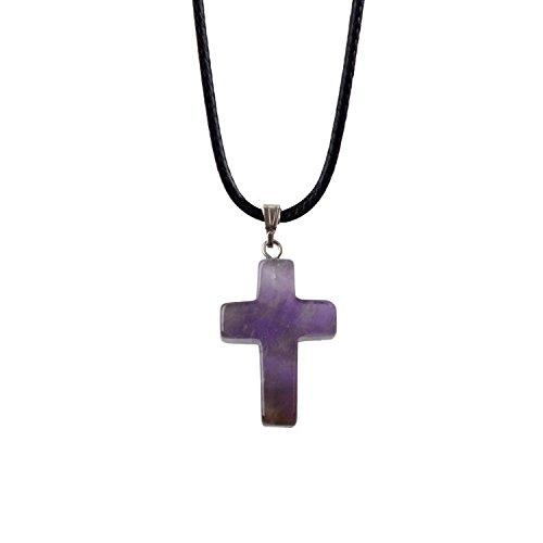 ZHEPIN Bless Gems Cross Pendant Necklace Healing Gemstone Symbol of Salvation, Good News (Necklace Stone Cross Crystal)
