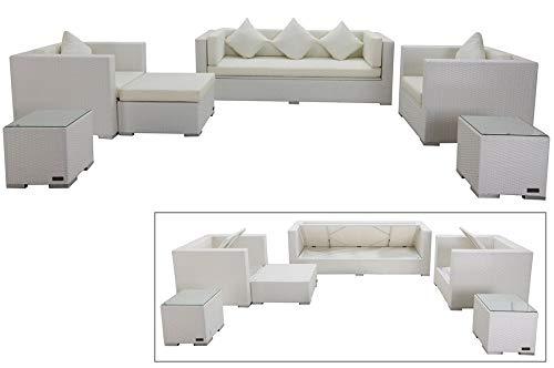 OUTFLEXX Exklusives XL Lounge-Set aus hochwertigem Polyrattan in weiß, 3-Sitzersofa, 2 Sessel, 1 Hocker, inkl. Kissenpolster, 2 kleine Beistelltische, für 7 Personen, Kissenboxfunktion, wetterfest