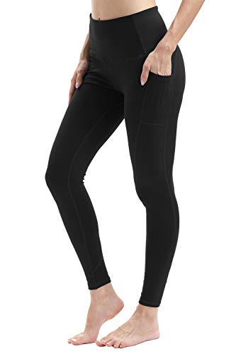 Waist Tummy Control Yoga Pants with Pockets for Running Workout -Black L ()