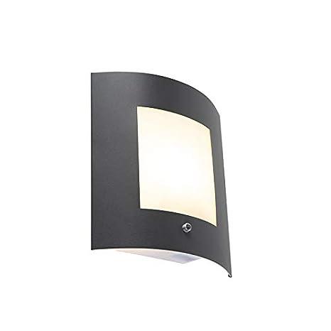 QAZQA Moderno Aplique exterior gris oscuro IP44 sensor claro ...