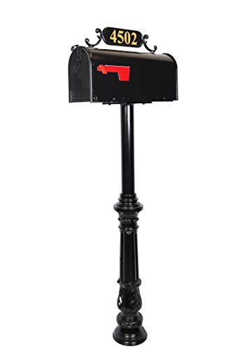 - The Jefferson Standard Black Mailbox with Address Plaque, Flag, and Numbers Included. Complete Luxury Mailbox and Post Combo Kit with Beautiful, Unique, Classic, Traditional, Decorative Features.