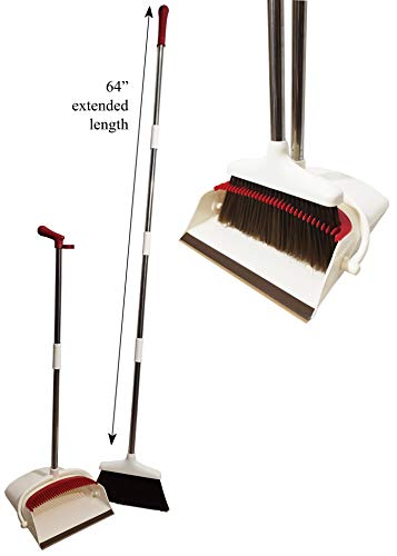 - Broom and Dustpan Set, Escoba y Recogedor, up to 64 inches Long Broom, Upright Dust Pan Combo, Sweeping, Barrer, Compact, Home, Office, Kitchen, Room and Lobby