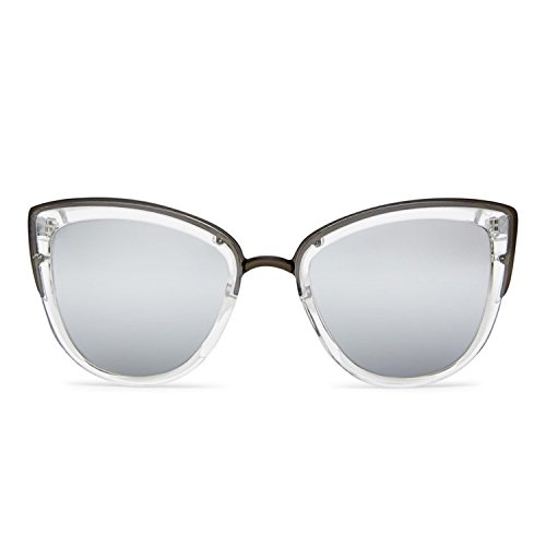 Quay Australia MY GIRL Women's Sunglasses Oversized Cat Eye Metal - - Quay Silver